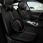 Black Luxury Car Seat Covers Front Rear Universal Fit Leather Protector Cushion