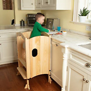 Wooden Kitchen Tower Step Stool Helper For Kids And Toddlers - Stand W 3 Heights