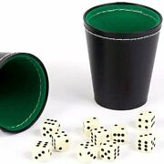 Bello Games New York Inc. Green And Black Leatherette Dice Cups With 10 Dice
