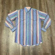 Vintage Roper Mens Large Western Rodeo Short Sleeve Button Shirt Striped Usa