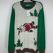 Ugly Christmas Sweaters Womens Xl Sweater Pullover Graphic Santa Tree New