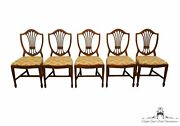 Set Of 5 Duncan Phyfe Style Antique Vintage Shield Back Dining Side Chairs