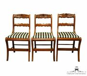Set Of 3 Cherry Wood Duncan Phyfe Style Rose Back Dining Side Chairs
