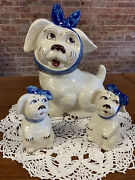 Shawnee Pottery Muggsy Cookie Jar W/ Large Salt And Pepper Shakers