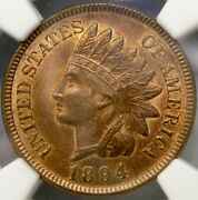 1894 Indian Head Cent/penny Beautiful Choice Scarce Ngc Mint State 65 Red Brown