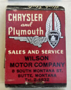 1930's Vintage Feature Matchbook Chrysler And Plymouth - Unstruck