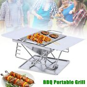 Us Portable Folding Stainless Barbecue Grill Charcoal Stove Camping Home Outdoor
