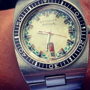 """Vintage Longines-wittnauer Diver Day-date """"submariner"""" Gorgeous Patina"""