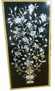 Mop Stone Inlay Work Dining Table Top Black Marble Wall Panel 30 X 60 Inches