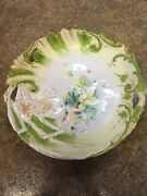 Rs Prussia 12-in Shallow Bowl Yellow And Teal Flowers Lime Green And Gold Accents