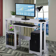 White Computer Desk With Drawer Door Shelves Pc Table Home Office Study Desktop