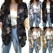 Us Womens Plus Size Jacket Casual Loose Work Blazer Floral Printed Coat Buttons