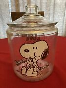Vintage 1980's Peanuts Snoopy Glass Collectible Cookie Jar