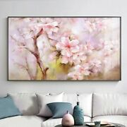 Authentic Hand Paint Abstract Pink Flower Oil Painting Canvas Wall Art Home Deco