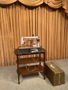 Vintage Mid Century Modern 2 Tone Pink Sears Kenmore Sewing Machine And Case