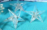 Lot Of 6 Large Vintage Clear Hard Plastic Acrylic Star Christmas Light Covers