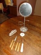 Vintage/antique Shaving Stand Mirror And Vanity Items Compact Tweezers File