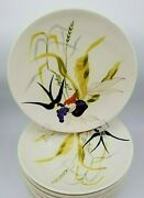 6 Vintage Mcm Hand Painted Red Wing Capistrano 11andrdquo Dinner Plates Swallow Berries