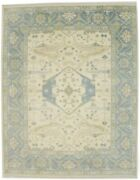 Classic Floral Design Vintage Style 9x12 Hand-knotted Oriental Rug Oushak Carpet