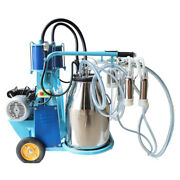110v Cow And Goat Double Barrel Piston Milking Machine 304 Stainless Steel Bucket