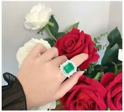 5ct Green Emerald Anddiamond 925 Sterling Silver Floral Design Ring Gift For Her