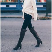 Kenneth Cole Jack Leather Black Over Knee Boots