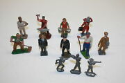 Vintage Toy Figures And Soldiers Some Made In France About 1940s Lot Of 12