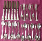 Reed And Barton Sterling Silver Flatware Set 24 Pieces 18th Century Pattern