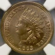 1863/863 Indian Head Cent/penny Cn Rare Snow 7 Finest Known Gorgeous Ngc Ms 64