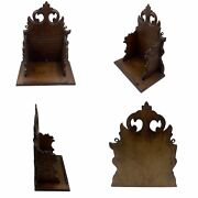 Antique Oak Small Wooden Carved Book Trough Shelf Wall Mounted Or Table Top