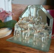Vintage Blown Glass Elephants Mother And Baby On Mirror Stand