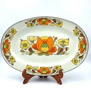 Vintage Sanko Ware Country Flowers Enameled Large Serving Platter 18andrdquox12andrdquo Flower