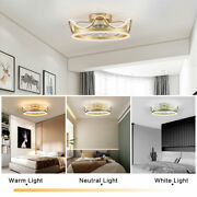 22 Gold Ceiling Fan Led Light Remote Control Chandelier 3 Wind Speed Setting