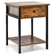 Castaway Industrial End Side Table Nightstand With Drawer Shelf Rustic Brown New