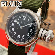 Oh Finished Good Operation Elgin Antique Military Hand-wound Wristwatch