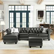 4-seats Pu Chesterfield Sectional Sofa Set L-shape Couch W/ Storage Ottoman
