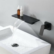 Brushed Wall Mounted Waterfall Bathroom Sink Faucet Single Handle Sink Faucets