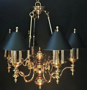 French Empire Bouillotte 18 Lamp Brass Chandelier Black Tole Colonial