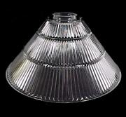 Neckless Pendant Light Shade 14 3/4 In Clear Glass Cone Ribbed Industrial Style