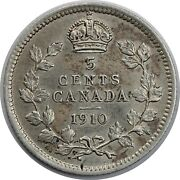 1910 Canadian / Canada 5 Cent Silver Half Dime - Xf Extra Fine Round Leaves