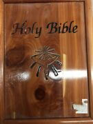Holy Bible Dove Of Peace King James Version In Wooden Cedar Box Case Union Made