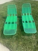 Vintage Folding Jelly Tube Chaise Lounge Chair Green Lot Of Two Retro Pool Chair