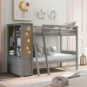 Twin Over Twin Bunk Bed With Bookcase And Ladder For Teens Bedroom Safety Guard Us
