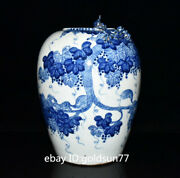 Chinese Antique Porcelain Qing Dynasty Blue And White Squirrel Grape Pattern Pot