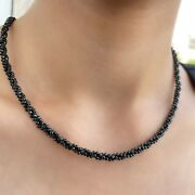 60 Ct Black Spinel Bead Necklace 4 Mm Natural Spinel Beads 18 Inch