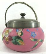 Small Covered Cookie Jar With Silver Plate Lid And Enamel Floral Decoration