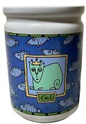 Ursula Dodge Canister Cat Queen Whimsical Pottery Treat Jar Ceramic Fish Blue