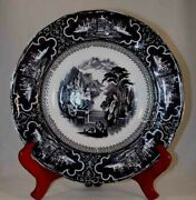 Antique Black Colored Staffordshire Soup Bowl Susa Pattern Charles Meigh And Son
