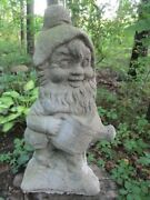 Vintage 17 1/2 Tall Cement Gnome Elf With Watering Can Garden Art Statue Concr