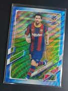 2020-21 Topps Chrome Uefa Champions 1 Lionel Messi Blue Wave Refractor /75